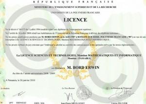 Ma Licence (Juin 2009)